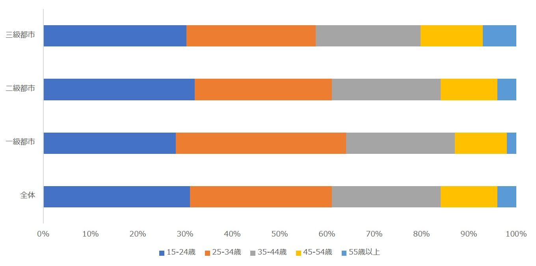中国SNSメディアユーザーの年齢分布