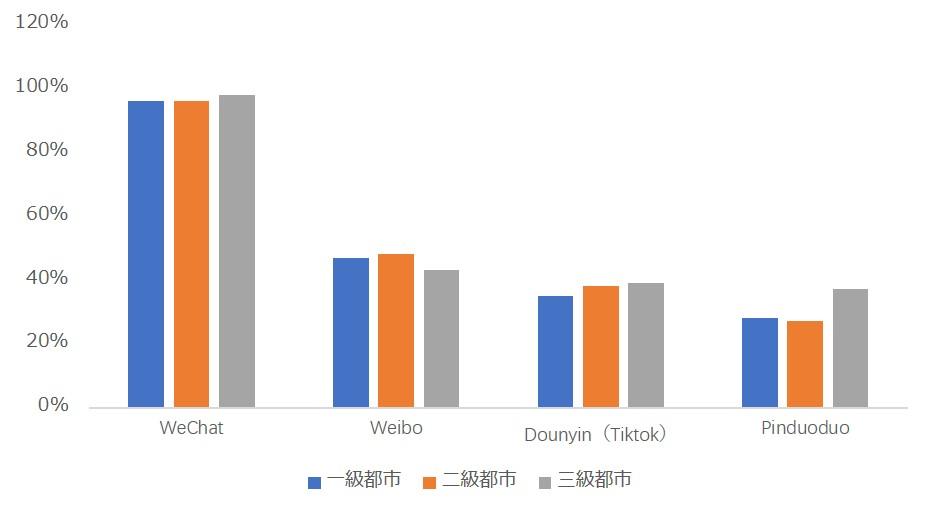 中国主要SNSメディアの地域別分布状況